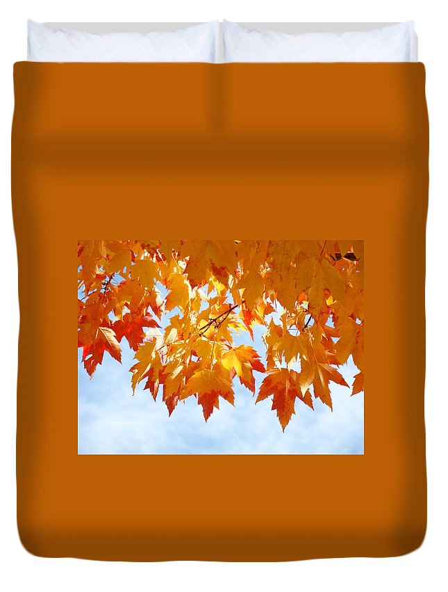 Autumn Duvet Cover featuring the photograph Leaves Nature Art Orange Autumn Tree Leaves by Baslee Troutman