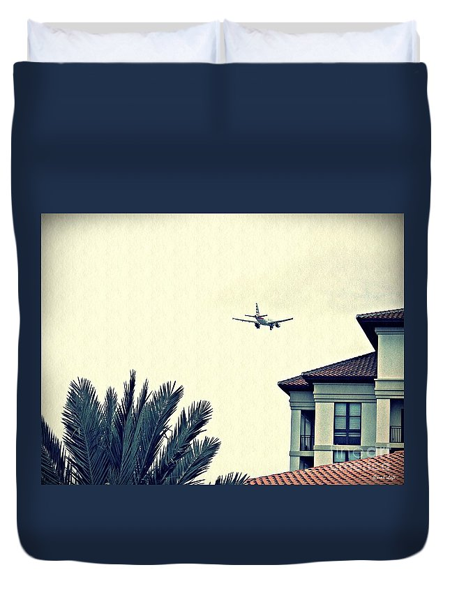 Tree Duvet Cover featuring the photograph Leaving On A Jet Plane 1   by Sarah Loft