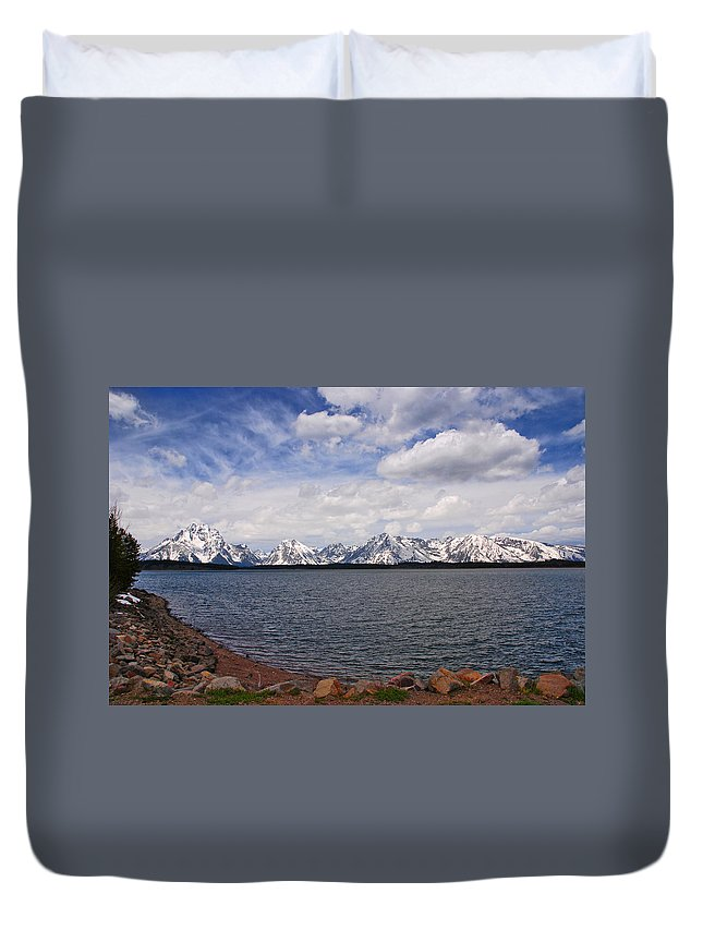 Photography Duvet Cover featuring the photograph Leaving The Grand Tetons by Susanne Van Hulst