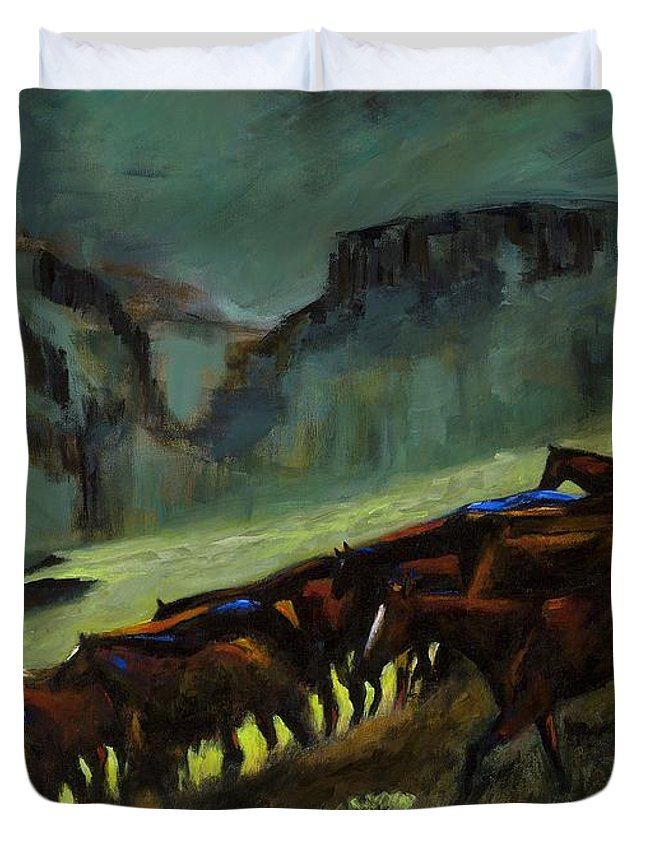 Horses Duvet Cover featuring the painting Leaving The Mesa by Frances Marino