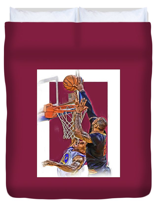 Lebron James Duvet Cover featuring the mixed media Lebron James Cleveland Cavaliers Oil Art by Joe Hamilton