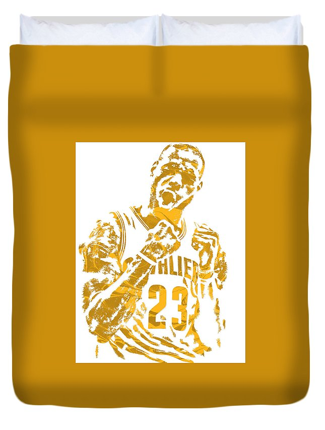 Lebron James Duvet Cover featuring the mixed media Lebron James Cleveland Cavaliers Pixel Art 9 by Joe Hamilton