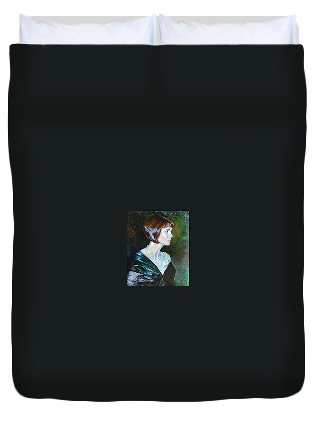 Portrait Duvet Cover featuring the painting Ledy In Green by Ylli Haruni