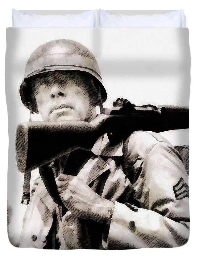 Hollywood Duvet Cover featuring the painting Lee Marvin, Vintage Actor by John Springfield