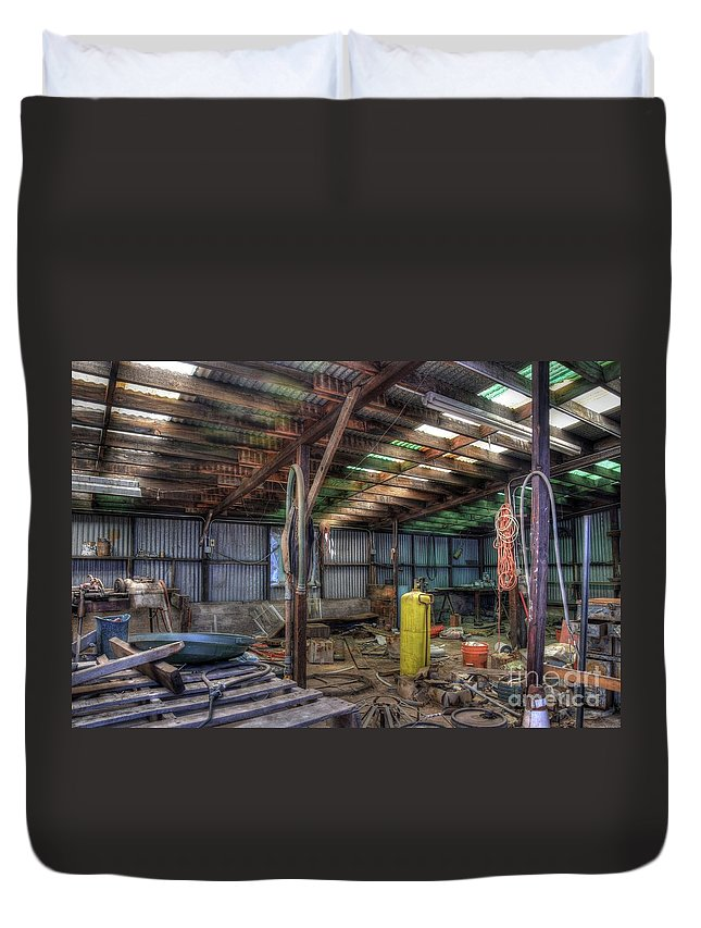 Building Metal Plastic Dreams History Equipment Chords Buckets Junk Historin Jerome Northern Arizona Duvet Cover featuring the photograph Left All Behind by Thomas Todd