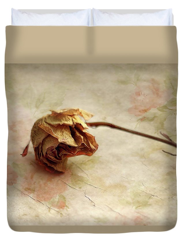 Flower Duvet Cover featuring the photograph Left Alone by Jessica Jenney