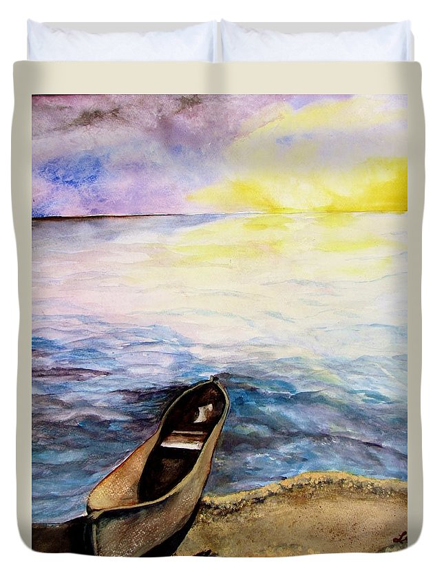 Canoe Duvet Cover featuring the painting Left Alone by Lil Taylor