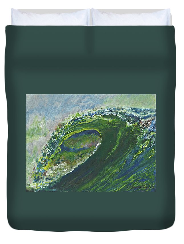 Surf Duvet Cover featuring the painting Left Of Ellicot by Geoffrey Filer