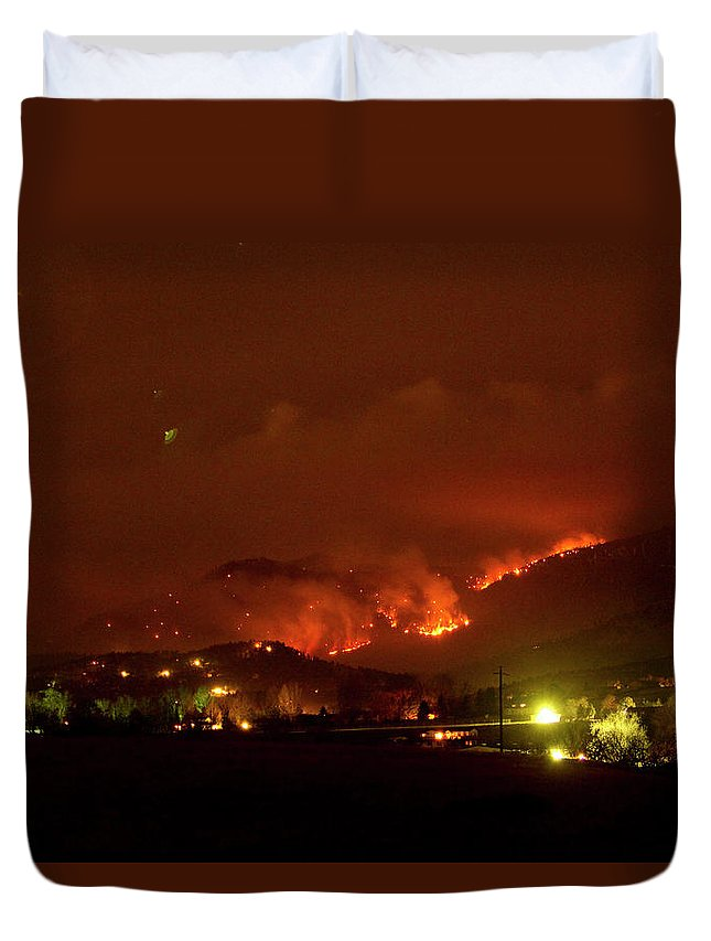 Lefthand Canyon Wildfire Duvet Cover featuring the photograph Lefthand Canyon Wildfire Boulder County Colorado 3-11-2011 by James BO Insogna