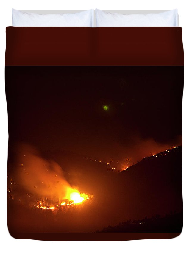 Lefthand Canyon Wildfire Duvet Cover featuring the photograph Lefthand Canyon Wildfire Flare Up Boulder County Colorado by James BO Insogna