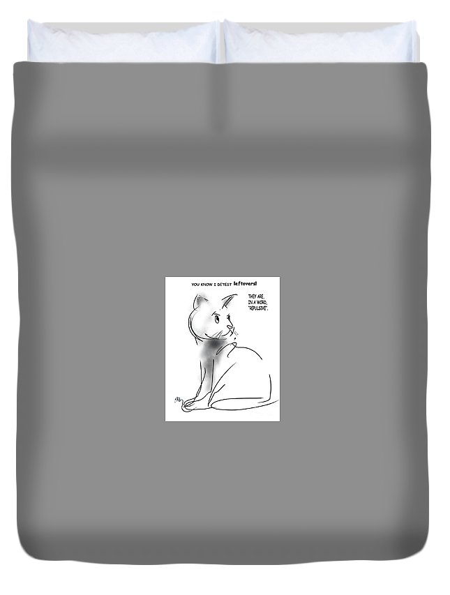 Cat Food Duvet Cover featuring the digital art Leftovers by Paul Miller