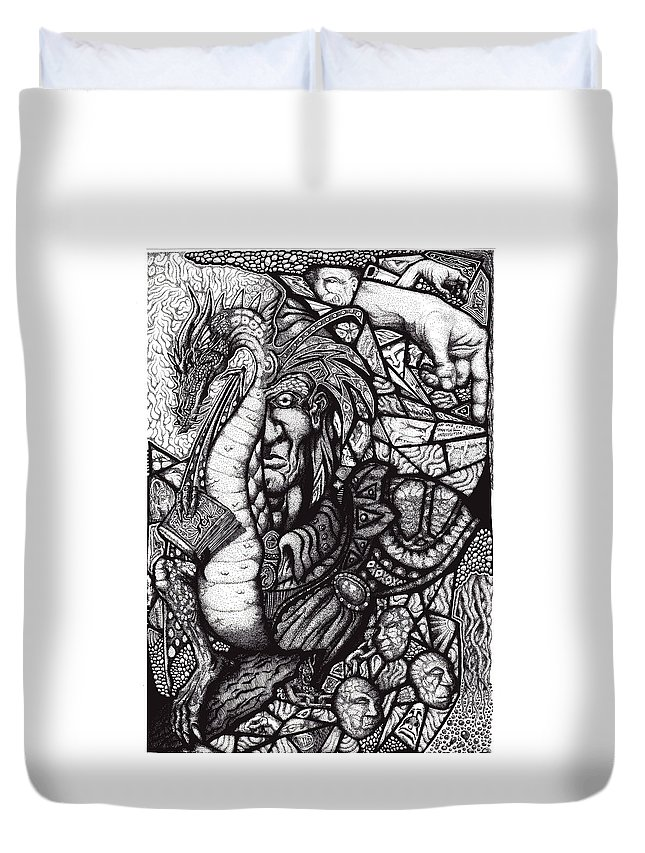 Pen And Ink Duvet Cover featuring the drawing Legend by Tobey Anderson
