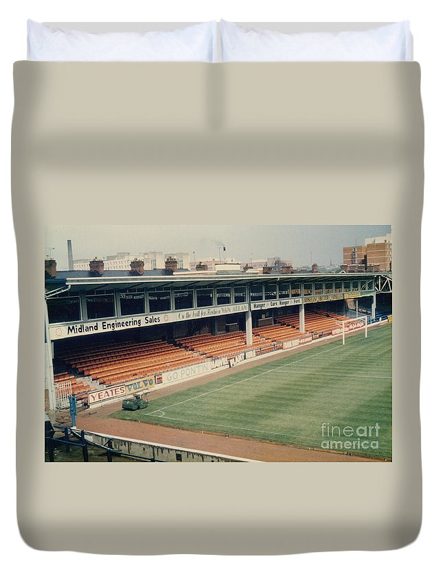 Duvet Cover featuring the photograph Leicester City - Filbert Street - Filbert Street End 2 - 1970s by Legendary Football Grounds