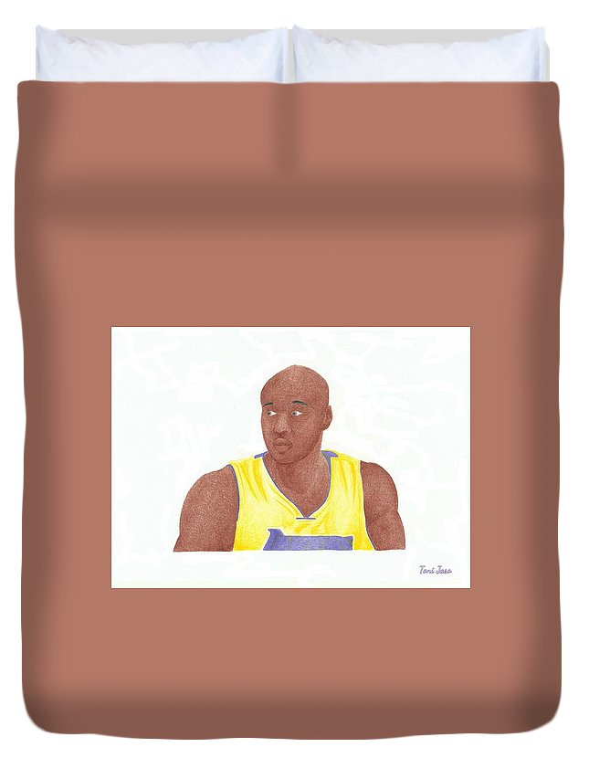 Basketball Duvet Cover featuring the drawing Lemar Odom by Toni Jaso
