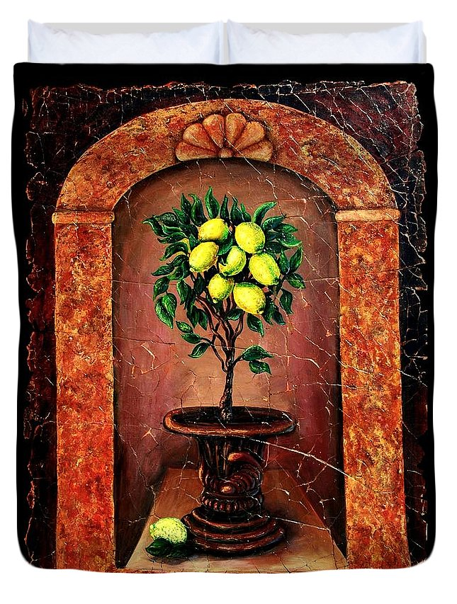 Fresco Antique Duvet Cover featuring the painting Lemon Tree by OLena Art Brand