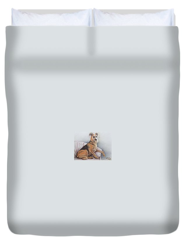 Dog Duvet Cover featuring the pastel Lena by Nicole Zeug