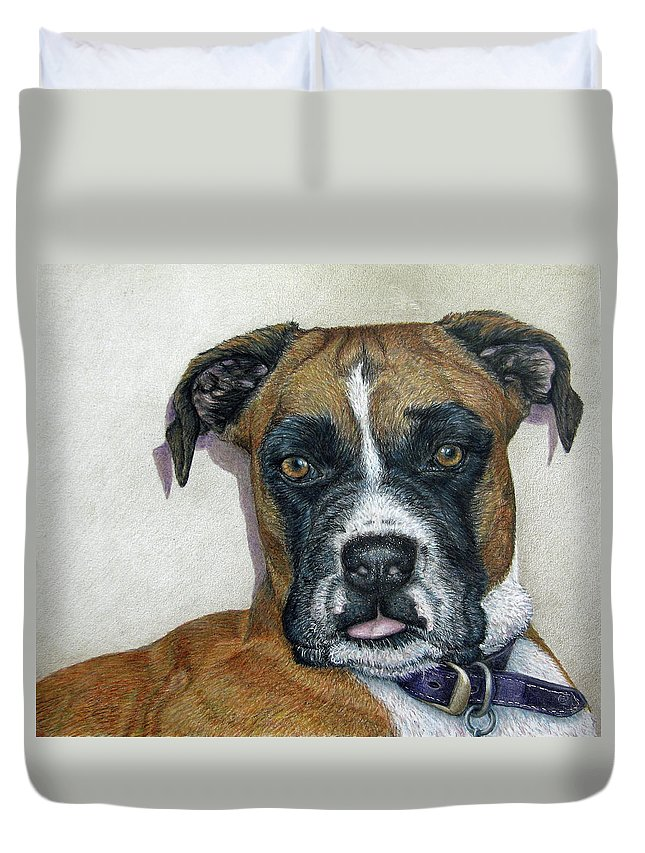 Fuqua - Artwork Duvet Cover featuring the drawing Lennox by Beverly Fuqua