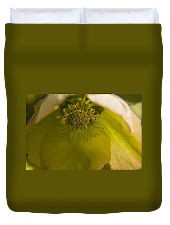 Flower Duvet Cover featuring the photograph Lenten Rose Interior by Teresa Mucha