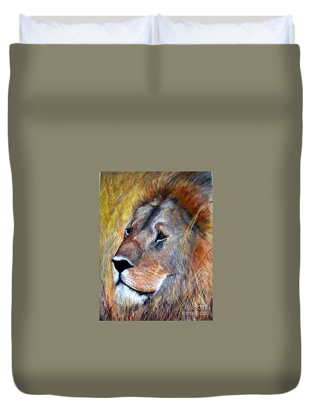 Lion Duvet Cover featuring the painting leo by Frances Marino