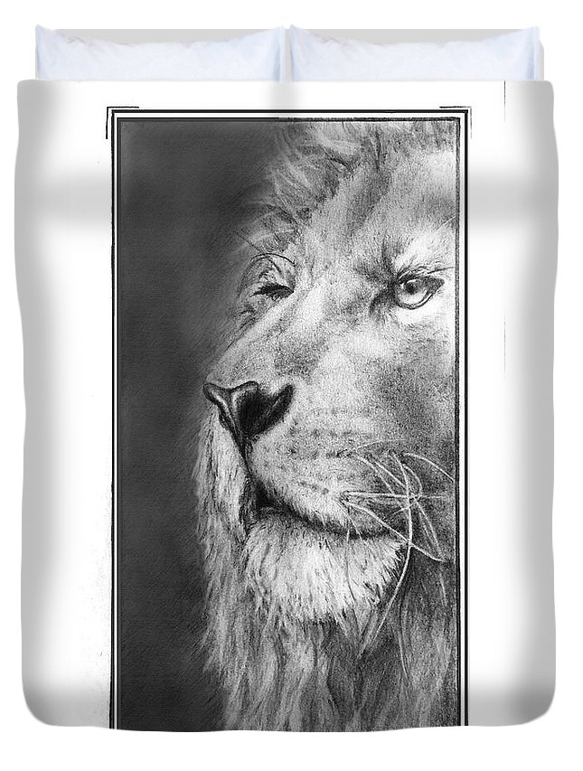 Lion Duvet Cover featuring the drawing Leo The King by Trey McCoy