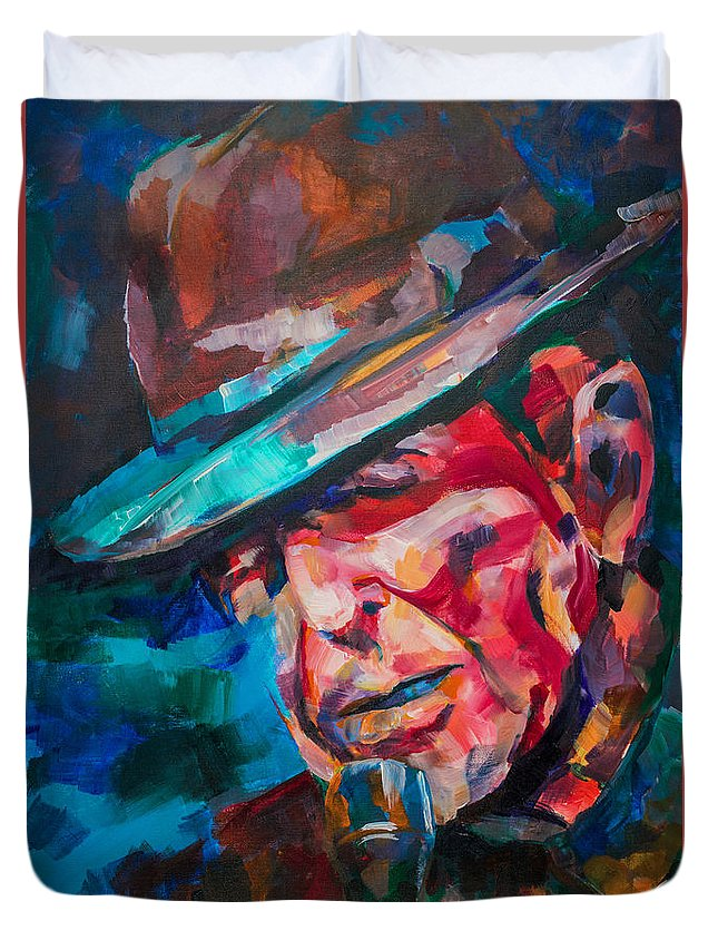 Leonard Duvet Cover featuring the painting Leonard Cohen by Dima Mogilevsky