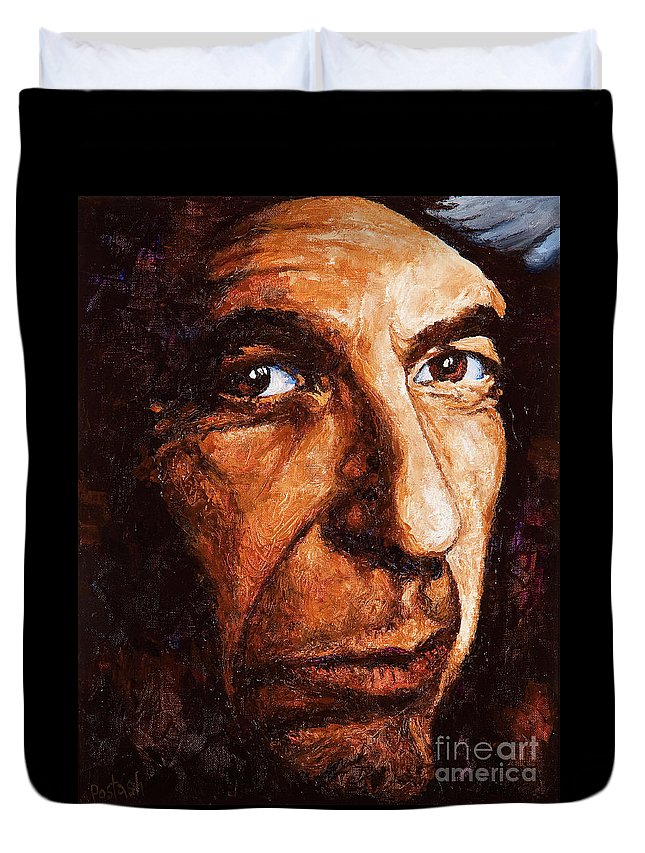 Colorful Duvet Cover featuring the painting Leonard Cohen by Igor Postash