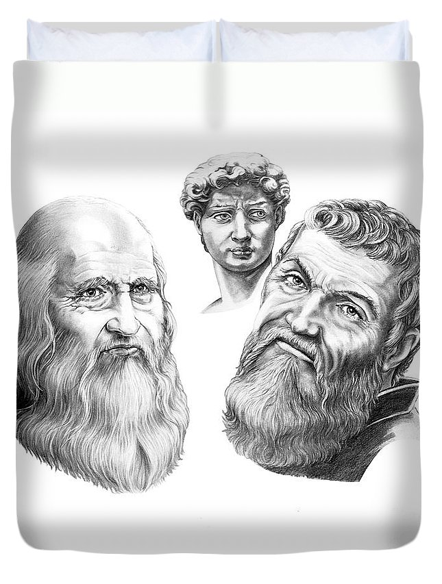Drawing Duvet Cover featuring the drawing Leonardo And Michelangelo by Murphy Elliott