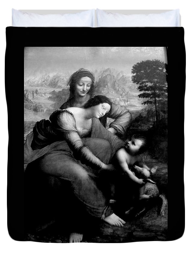 The Virgin And Chid With St. Anne By Leonardo Da Vicci Duvet Cover featuring the photograph The Virgin And Chid With St. Anne by Win Naing