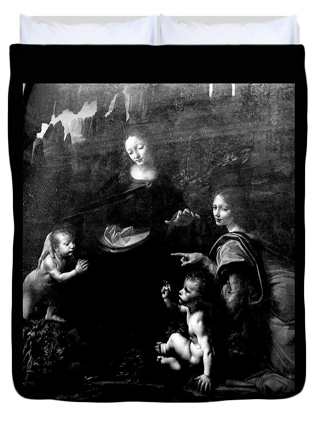 Virgin Of The Rocks By Leonardo Da Vicci Duvet Cover featuring the photograph Virgin Of The Rocks by Win Naing