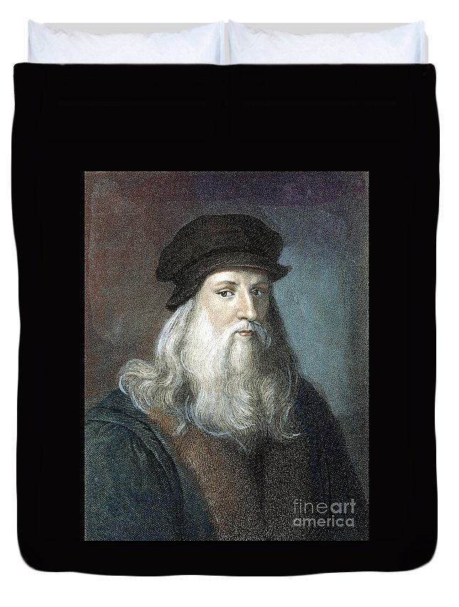 15th Century Duvet Cover featuring the photograph Leonardo Da Vinci - To License For Professional Use Visit Granger.com by Granger