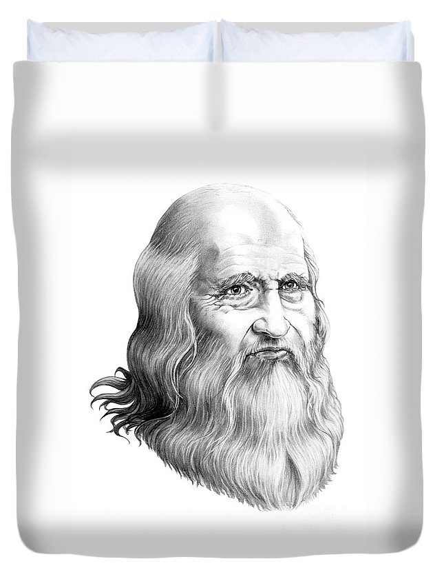 Famous Person Duvet Cover featuring the drawing Leonardo Da Vinci by Murphy Elliott