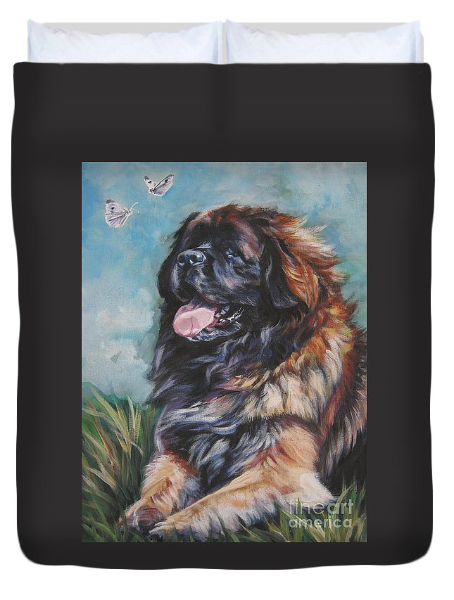 Leonberger Art Print Duvet Cover featuring the painting Leonberger Art Print by Lee Ann Shepard