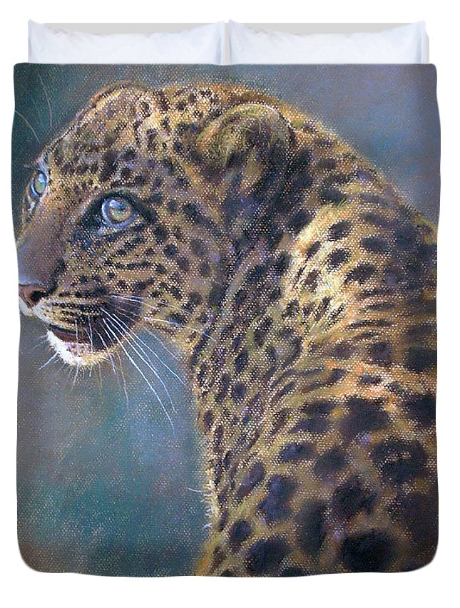 Cats Duvet Cover featuring the painting Leopard by Iliyan Bozhanov
