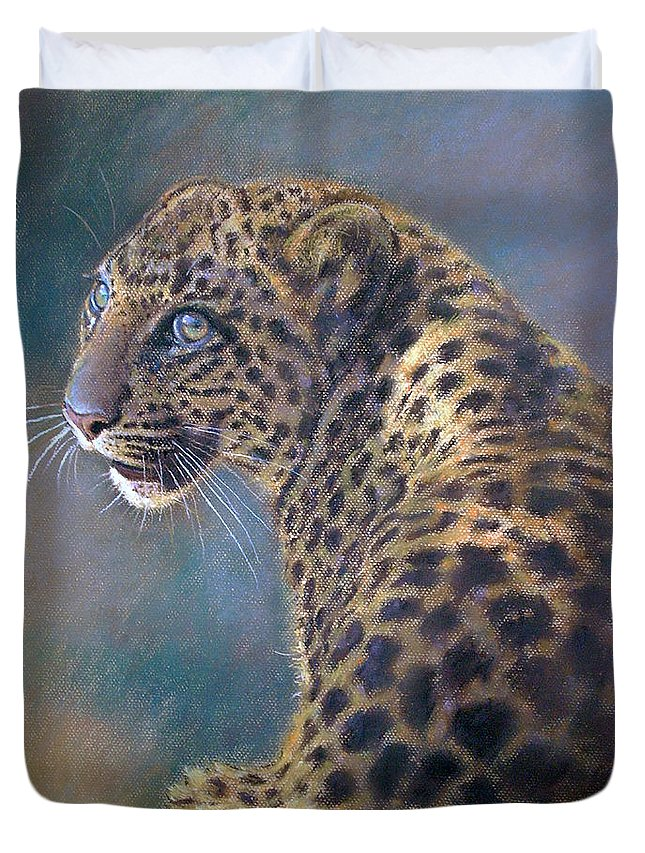 Cats Duvet Cover featuring the pastel Leopard by Iliyan Bozhanov