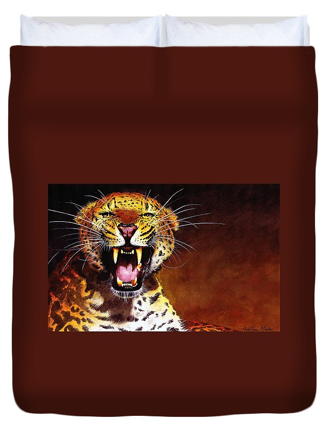 Leopard Duvet Cover featuring the painting Leopard by Paul Dene Marlor
