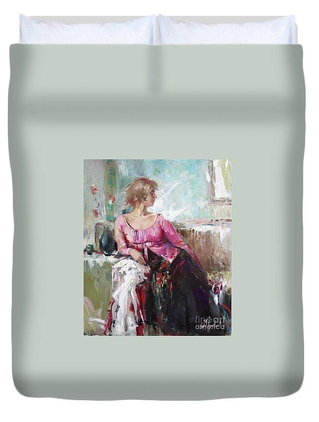 Ignatenko Duvet Cover featuring the painting Lera by Sergey Ignatenko