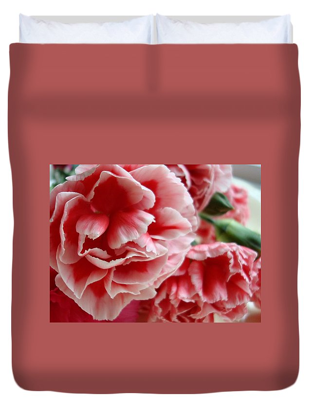 Carnations Duvet Cover featuring the photograph Les Jolis Petales by Kathy Bucari
