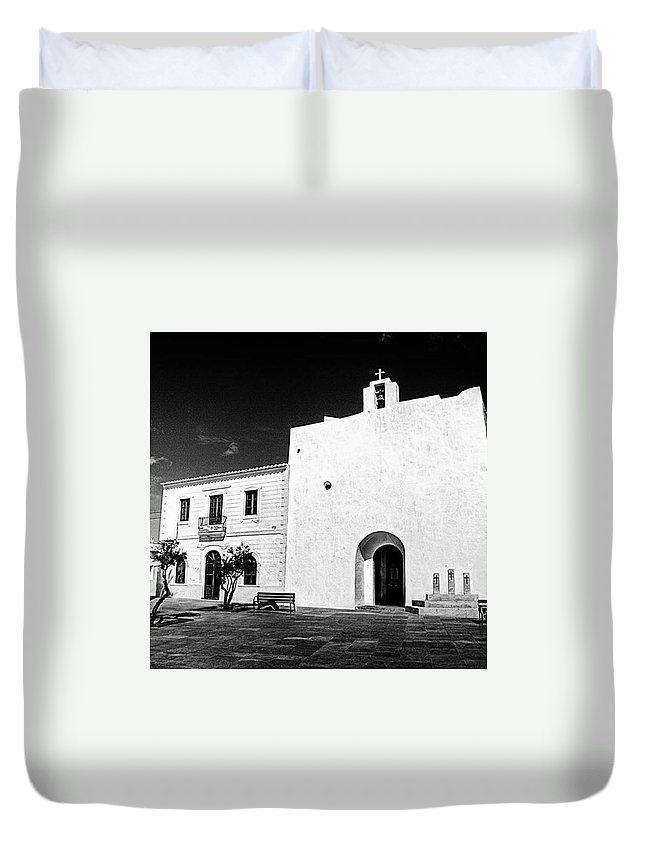 Balearics Duvet Cover featuring the photograph Fortified Church, Formentera by John Edwards