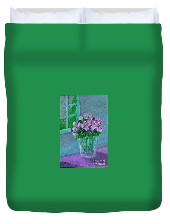Rose Duvet Cover featuring the painting Leslie's Roses by Laurie Morgan