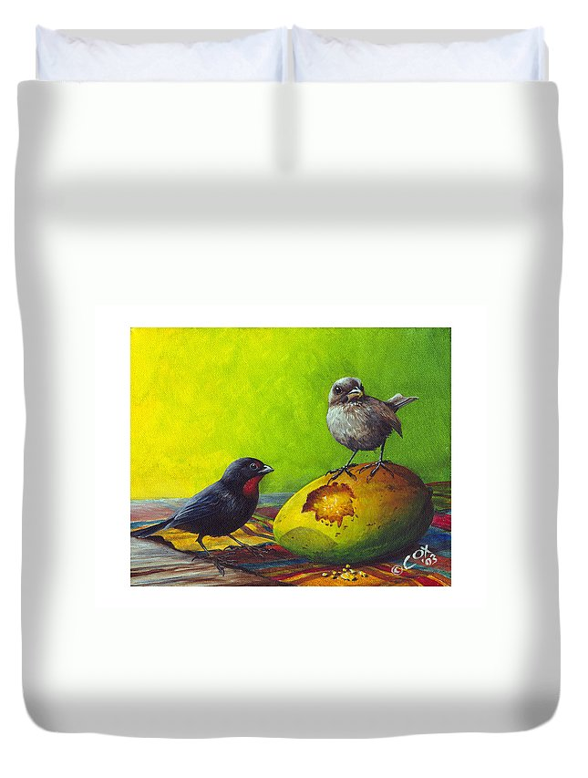 Chris Cox Duvet Cover featuring the painting Lesser Antillean Bullfinches and mango by Christopher Cox