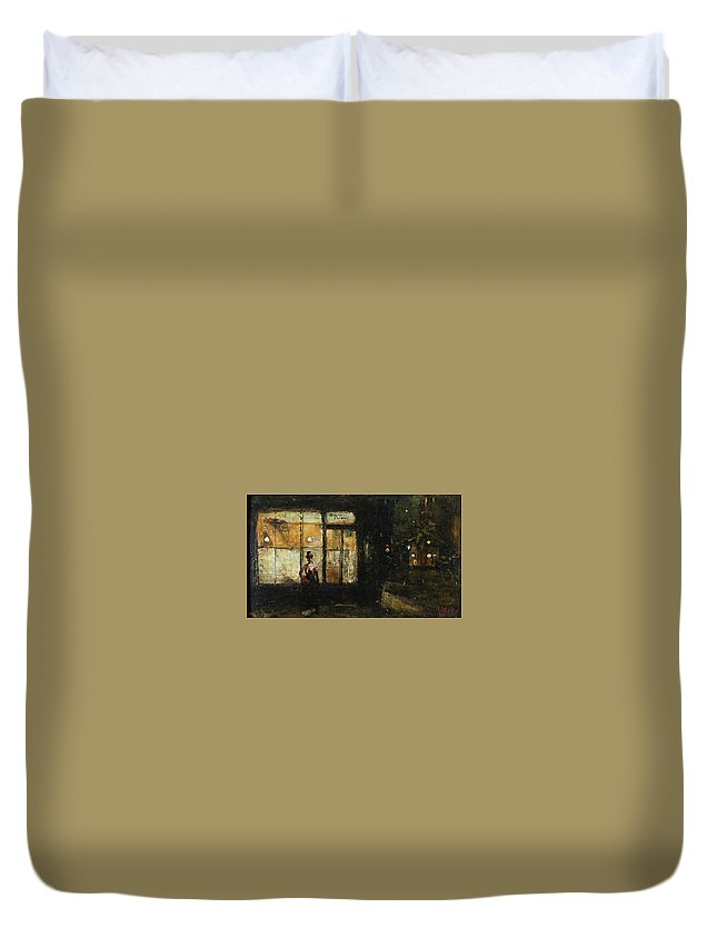 Lesser Ury Parisian Boulevard At Night Duvet Cover featuring the painting Lesser Ury Parisian Boulevard At Night by MotionAge Designs