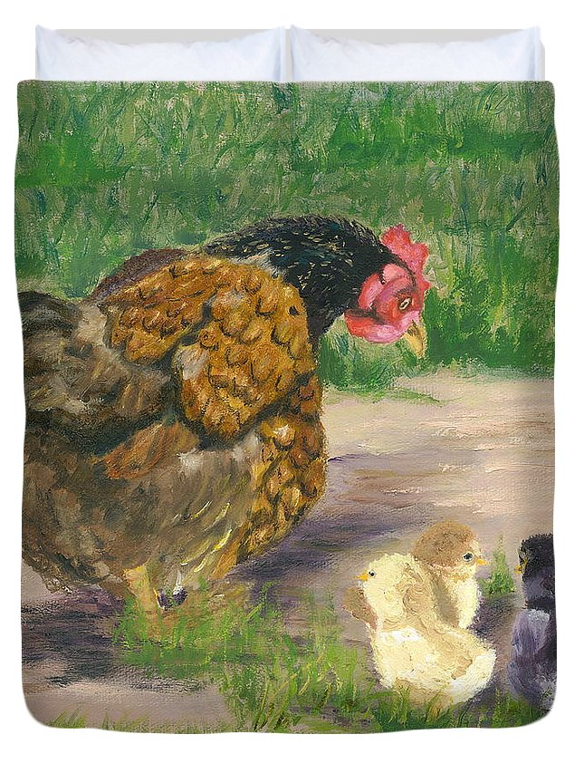 Cickens Chicks Hen Barnyard Bantams Farm Bucolic Nature Duvet Cover featuring the painting Lesson Time by Paula Emery