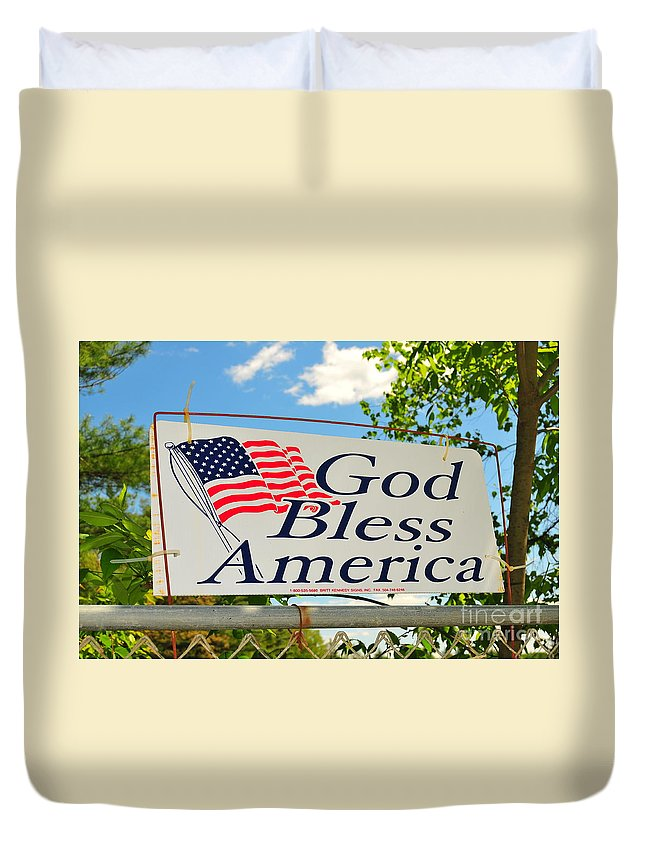 God Bless America American Flag Red White Blue Trees Clouds Blue Sky United States New England Vermont Wire Fence Rusty Old Metel Sign Chain Linked Old Duvet Cover featuring the photograph Let Freedom Ring by Catherine Reusch Daley