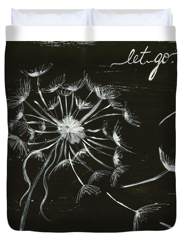 Dandelion Duvet Cover featuring the painting Let Go by Krista Brock
