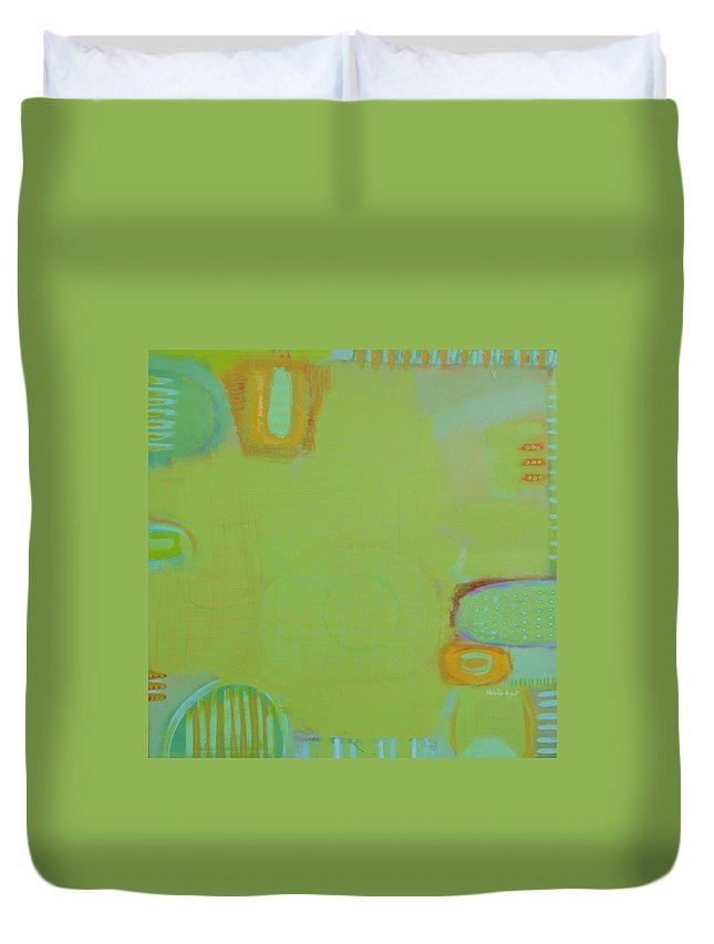 Peace Colors Abstract Modern Contemporary Duvet Cover featuring the painting Let It Be Green by Habib Ayat