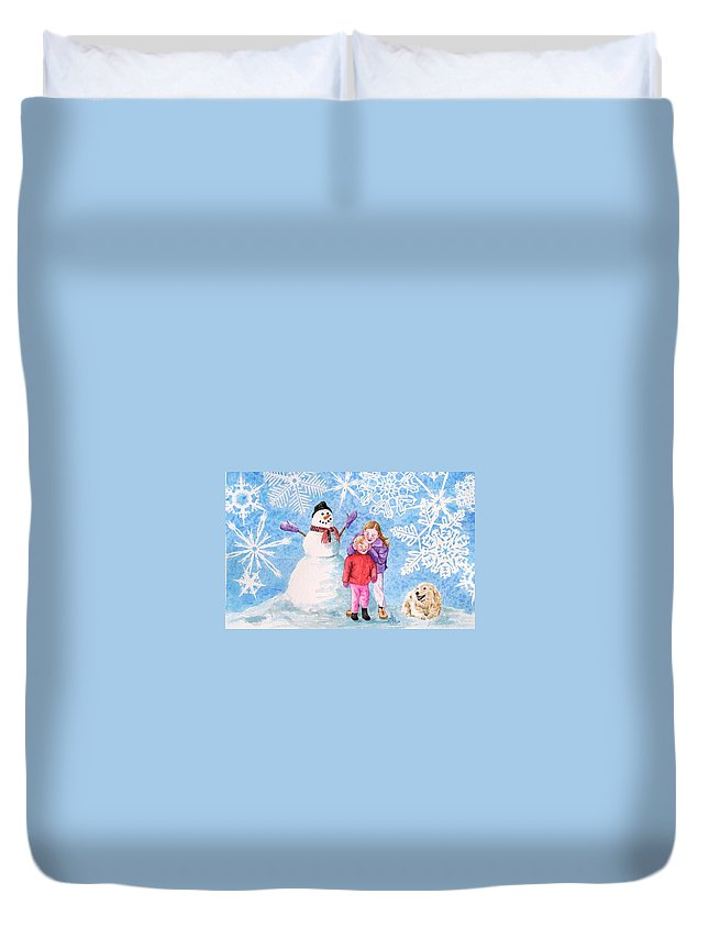 Snowman Duvet Cover featuring the painting Let It Snow by Gale Cochran-Smith