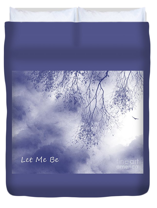 Bird Duvet Cover featuring the painting Let Me Be, Me by Trilby Cole