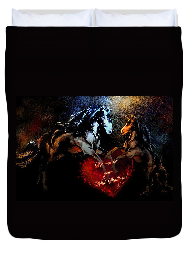 Love Duvet Cover featuring the painting Let Me Be Your Wild Stallion by Miki De Goodaboom