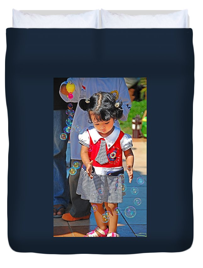 Girl Duvet Cover featuring the photograph Let Me Catch by Charuhas Images