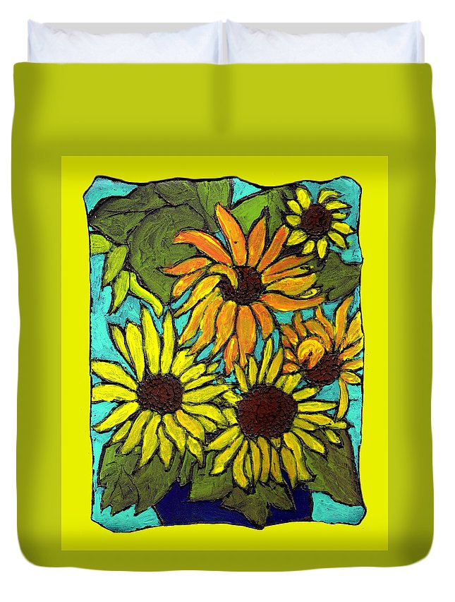 Yellow Duvet Cover featuring the painting Let The Sunshine In by Wayne Potrafka